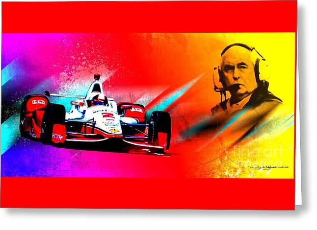Indy Car Greeting Cards - Team Penske Greeting Card by Roger Lighterness