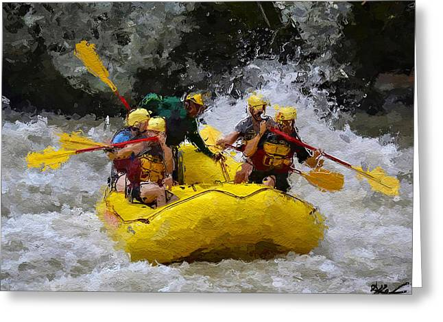 White Water Rafting Print Greeting Cards - Teamwork Greeting Card by Anthony Fishburne