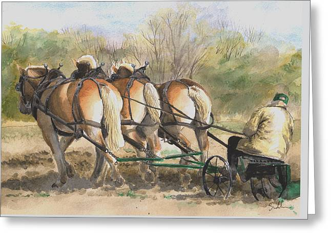 Plowing Field Greeting Cards - Teamwork Greeting Card by Suzanne Sudekum