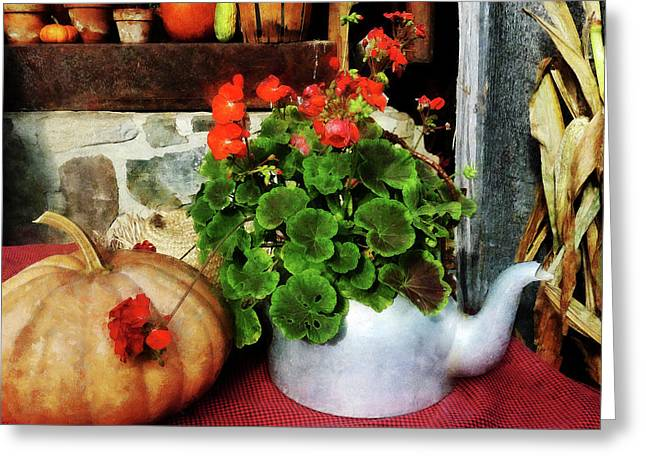 Corn Greeting Cards - Teapot Filled With Geraniums Greeting Card by Susan Savad