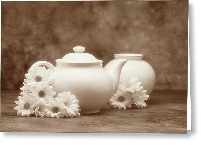 Teapot With Daisies I Greeting Card by Tom Mc Nemar
