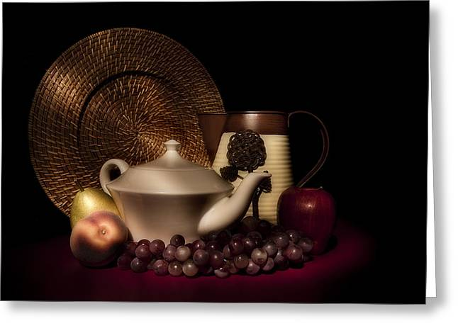 Pitcher Greeting Cards - Teapot With Fruit still Life Greeting Card by Tom Mc Nemar