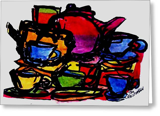 Fineartamerica Greeting Cards - Teapots in my sink Greeting Card by James  Christiansen