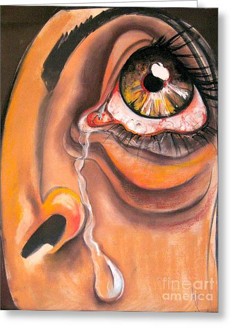 Tears Pastels Greeting Cards - Tear Greeting Card by Yxia Olivares