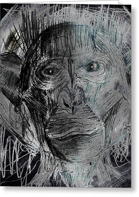 Outerspace Drawings Greeting Cards - Tearful Space Ape Astronaut With Space Suit Takes Its First Steps On Moon Pencil Drawing version 2 Greeting Card by Don Lee