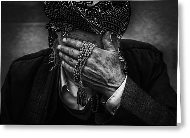 Praying Hands Greeting Cards - Tears For Iraq Greeting Card by Omer Yousief