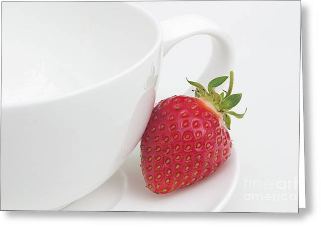 Red And Tea Greeting Cards - Teatime Strawberry Greeting Card by Ann Garrett