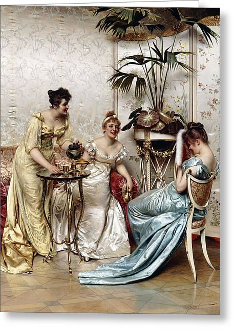 Teatime Tales Greeting Card by Joseph Frederic Charles Soulacroix