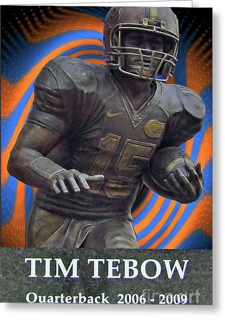 Tebow Greeting Cards - Tebow Greeting Card by D Hackett