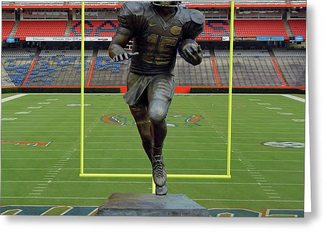 Tebow Greeting Cards - Tebow In The Swamp Greeting Card by D Hackett
