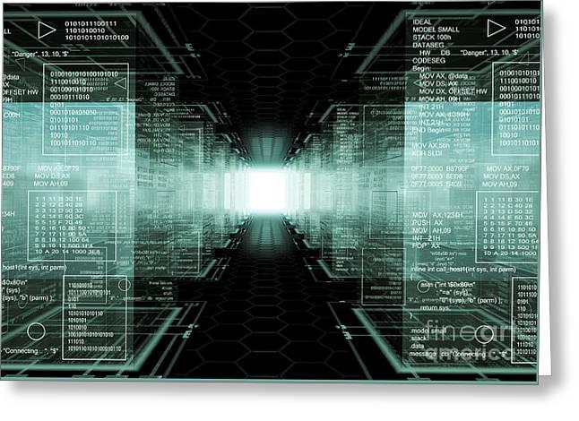 Tech Cubes Greeting Card by Caio Caldas