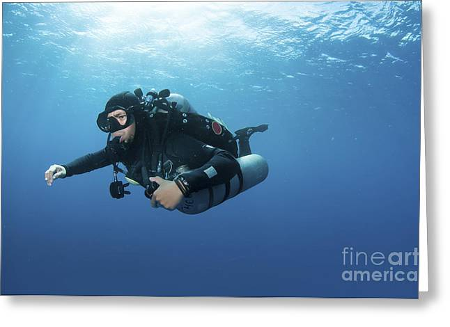 Undersea Photography Greeting Cards - Technical Diver With Equipment Swimming Greeting Card by Karen Doody