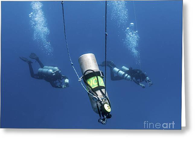 Oxygen Tank Greeting Cards - Technical Divers Ascend Near A Nitrox Greeting Card by Karen Doody