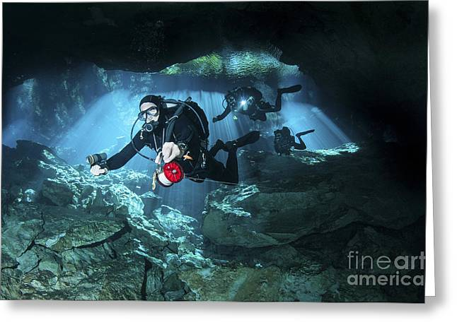 Cenote Greeting Cards - Technical Divers Enter The Cavern Greeting Card by Karen Doody