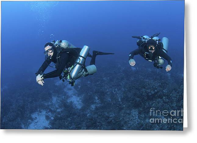 Undersea Photography Greeting Cards - Technical Divers With Equipment Greeting Card by Karen Doody