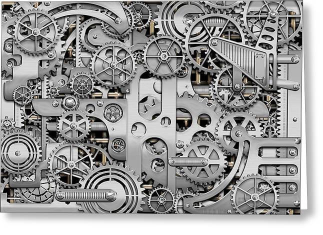 Ultra Modern Greeting Cards - Techno Worlds - Complexity and Complications - Clockwork Silver Greeting Card by Serge Averbukh