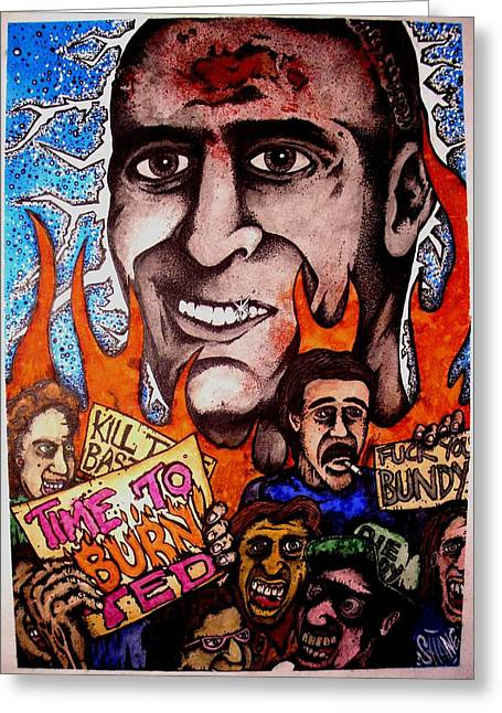 Serial Killer Mixed Media Greeting Cards - Ted Bundys Last Smile Greeting Card by Sam Hane