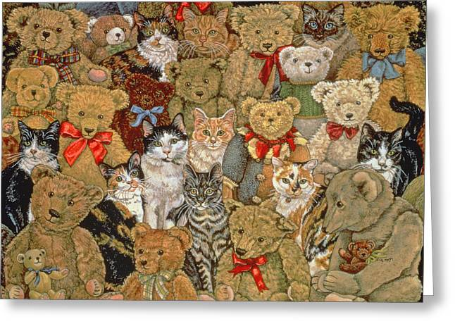 Array Greeting Cards - Ted Cats Greeting Card by Ditz