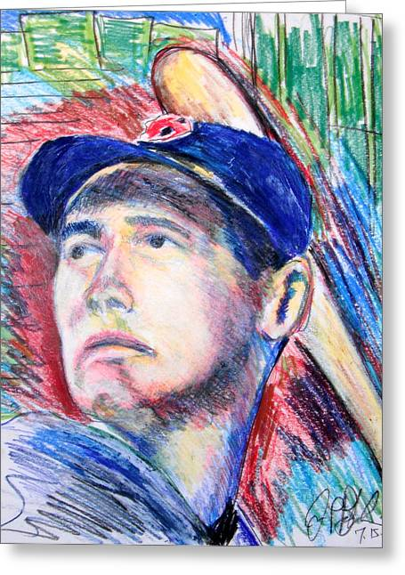 Splended Splinter Greeting Cards - Ted Williams Boston Redsox  Greeting Card by Jon Baldwin  Art