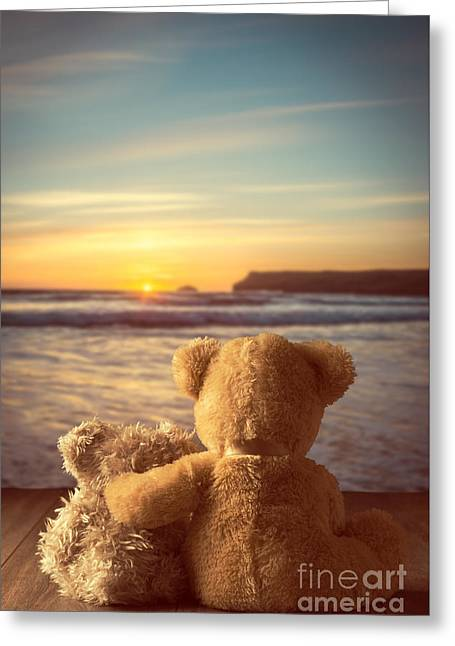 Warm Tones Greeting Cards - Teddies At Sunset Greeting Card by Amanda And Christopher Elwell