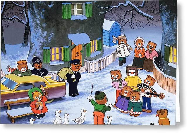 Teddies In Winter  Greeting Card by English School