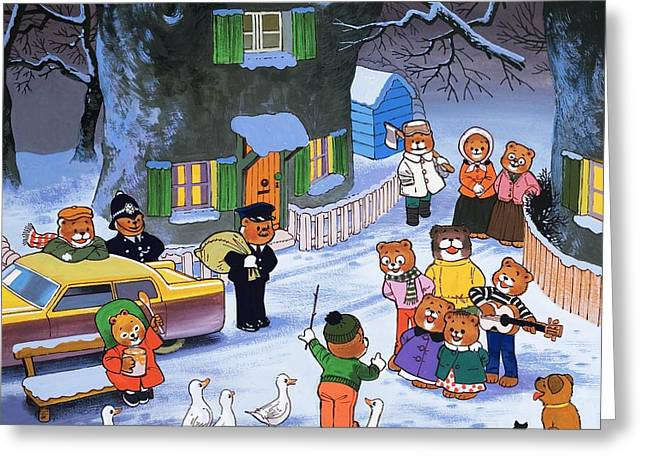 Police Christmas Card Greeting Cards - Teddies in winter  Greeting Card by English School