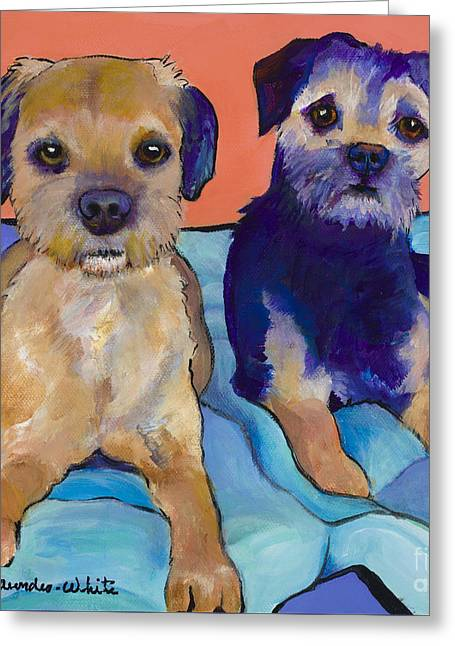 Greeting Cards - Teddy and Max Greeting Card by Pat Saunders-White