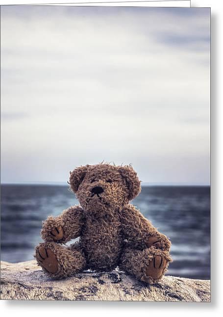 Animals Love Greeting Cards - Teddy Bear At The Sea Greeting Card by Joana Kruse