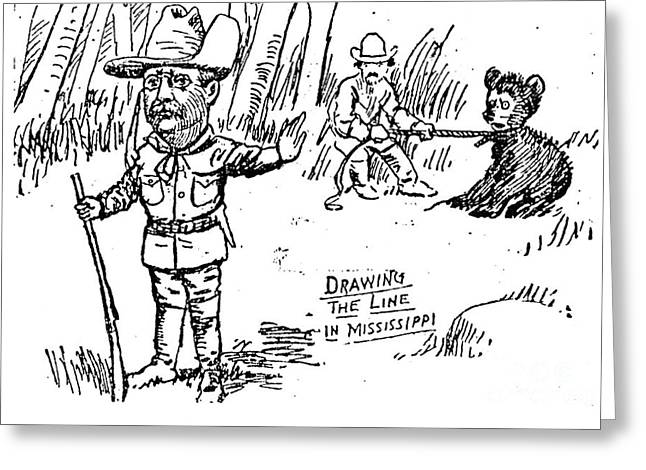 Political Acts Greeting Cards - Teddy Bear Cartoon, 1902 Greeting Card by Granger