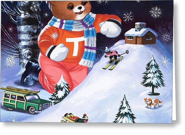 Winter Night Drawings Greeting Cards - Teddy Bear Christmas Card Greeting Card by William Francis Phillipps