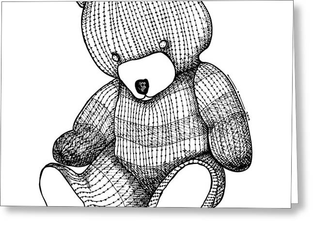 Child Toy Drawings Greeting Cards - Teddy Bear Greeting Card by Karl Addison