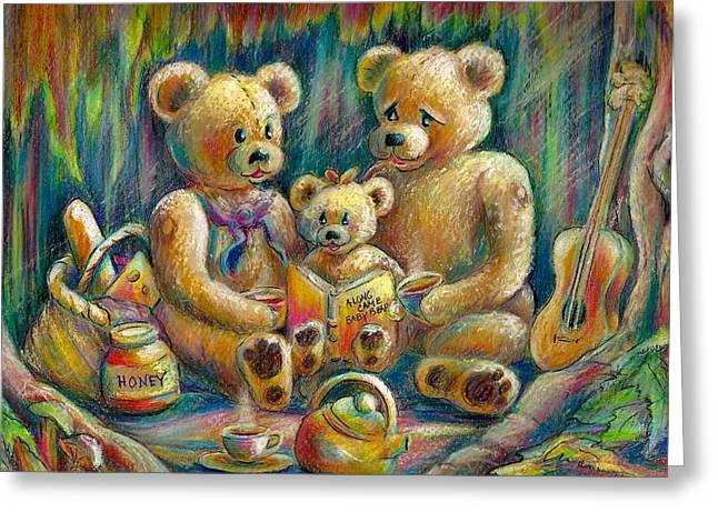 Storybook Drawings Greeting Cards - Teddy Bear Picnic Greeting Card by KC Winters