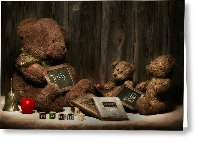 Instructions Greeting Cards - Teddy Bear School Greeting Card by Tom Mc Nemar