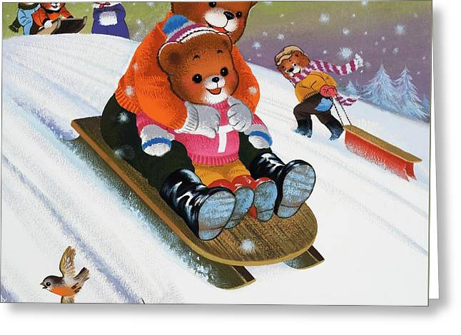 Father And Son Greeting Cards - Teddy Bear Sleigh Ride Greeting Card by William Francis Phillipps