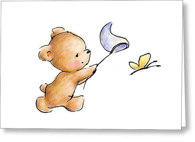 Teddy Bear With A Butterfly Greeting Card by Anna Abramska