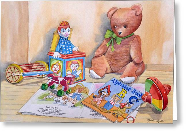The Horse Greeting Cards - Teddy Bear With Books And Toys Greeting Card by Madeline  Lovallo