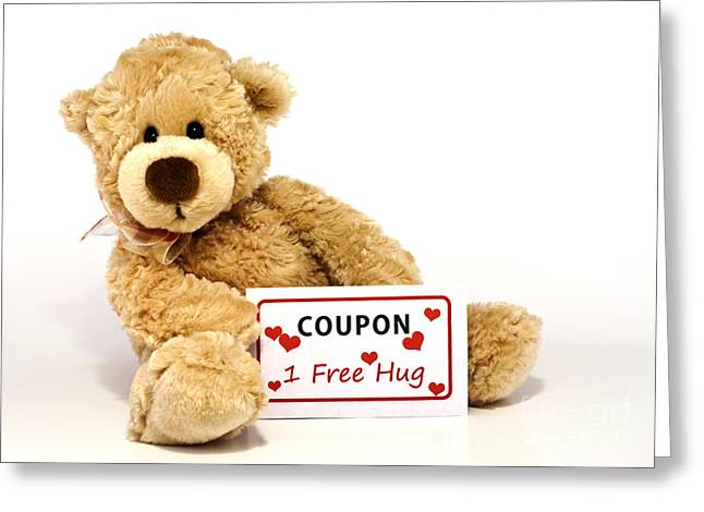 Texting Photographs Greeting Cards - Teddy bear with hug coupon Greeting Card by Blink Images