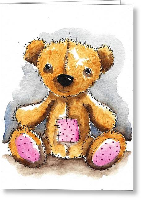 Toy Animals Greeting Cards - Teddy Bear with patch Greeting Card by Lucia Stewart