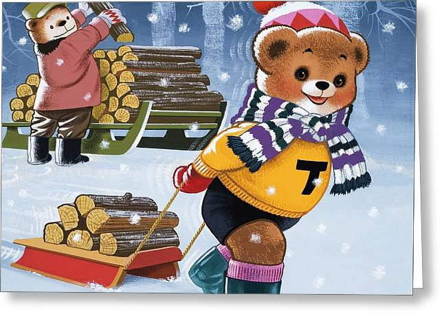 Collects Greeting Cards - Teddy Bears Collecting Wood Greeting Card by William Francis Phillipps