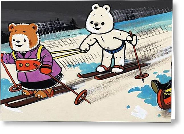Skiing Christmas Cards Greeting Cards - Teddy Bears Skiing Greeting Card by William Francis Phillipps