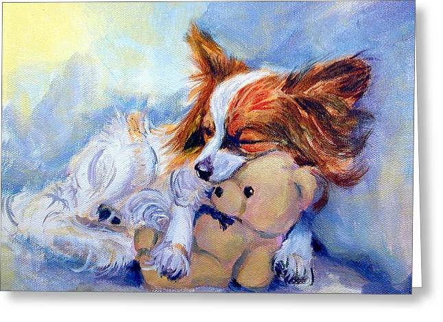 Teddy Hugs - Papillon Dog Greeting Card by Lyn Cook