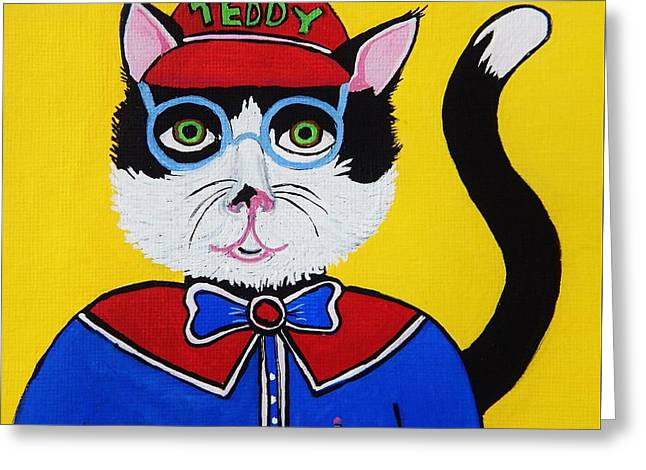 Pictures Of Cats Greeting Cards - Teddy the Cat Greeting Card by Reb Frost