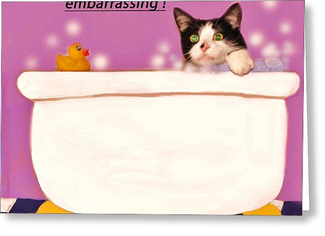 Rubber Ducky Greeting Cards - Teddy the Ninja Cat Up Close and Personal Greeting Card by Reb Frost
