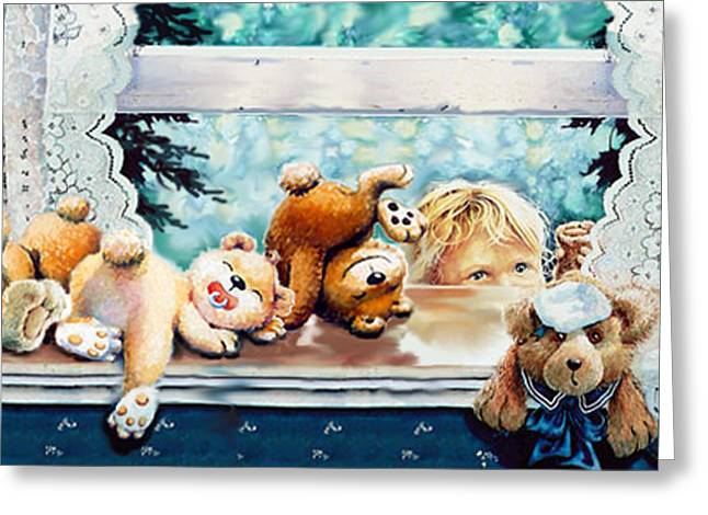 Child With Teddy Bear Greeting Cards - Teddy Tricks Greeting Card by Hanne Lore Koehler