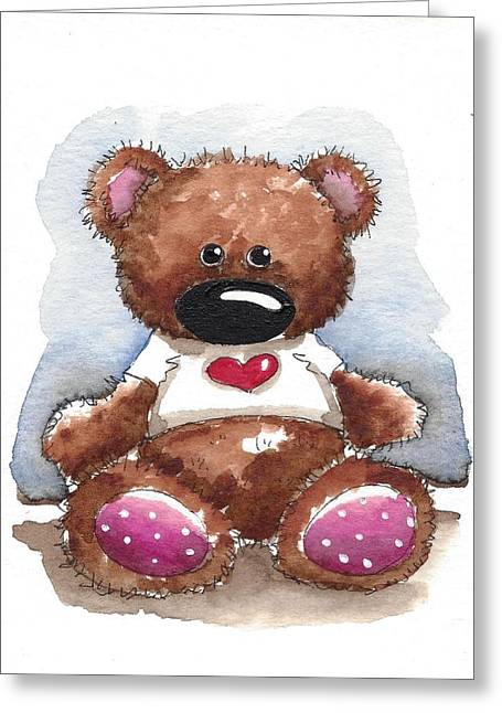 Whimsical Illustration Greeting Cards - Teddy with heart shirt Greeting Card by Lucia Stewart