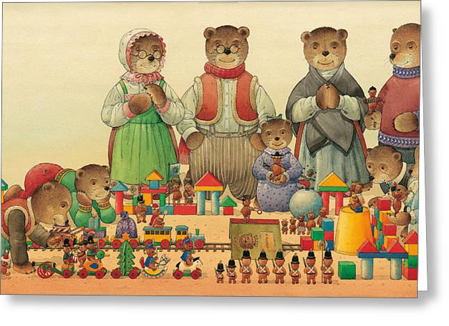 Teddybears and Bears Christmas Greeting Card by Kestutis Kasparavicius