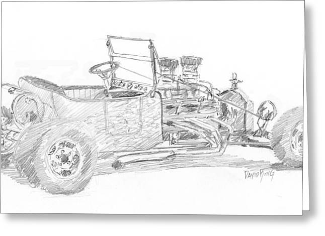Ford Model T Car Drawings Greeting Cards - Tee Bucket Sketch Greeting Card by David King