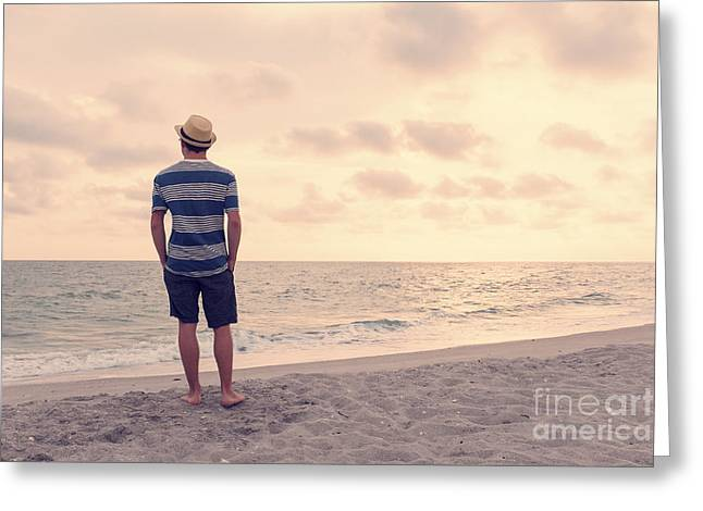 Sanibel Greeting Cards - Teen Boy on Beach Greeting Card by Edward Fielding