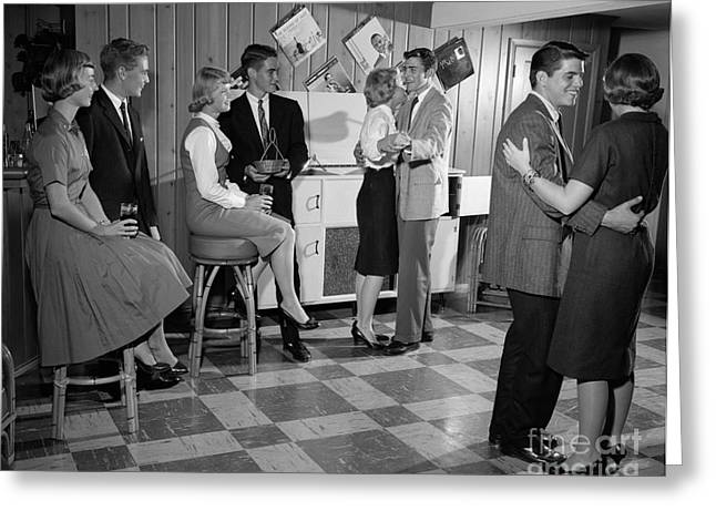 Teen Couples Dancing At A Party Greeting Card by H. Armstrong Roberts/ClassicStock