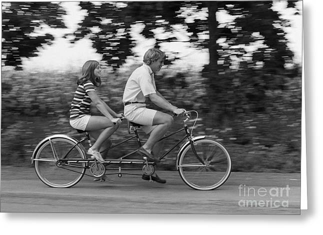 Teenagers On Tandem Bike, C.1970s Greeting Card by H. Armstrong Roberts/ClassicStock